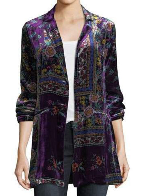 Purple Velvet Long Sleeve Outerwear