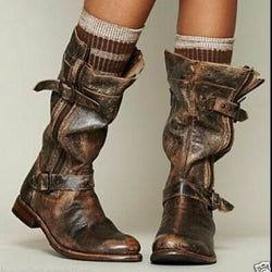Spring/fall Flat Heel Button  Boots