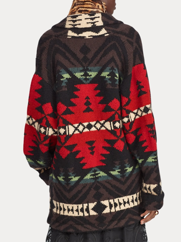 Red Geometric Cotton-Blend Long Sleeve Outerwear