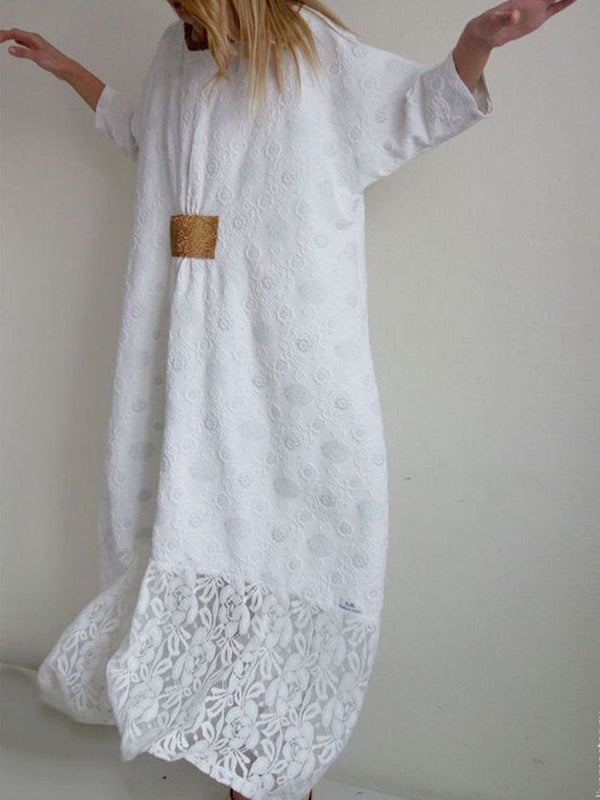 White 3/4 Sleeve Guipure Lace Dresses