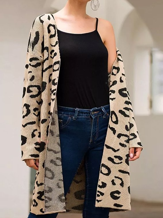 Leopard Print Casual Outerwear