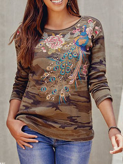 Army Green Casual Long Sleeve Shirts & Tops