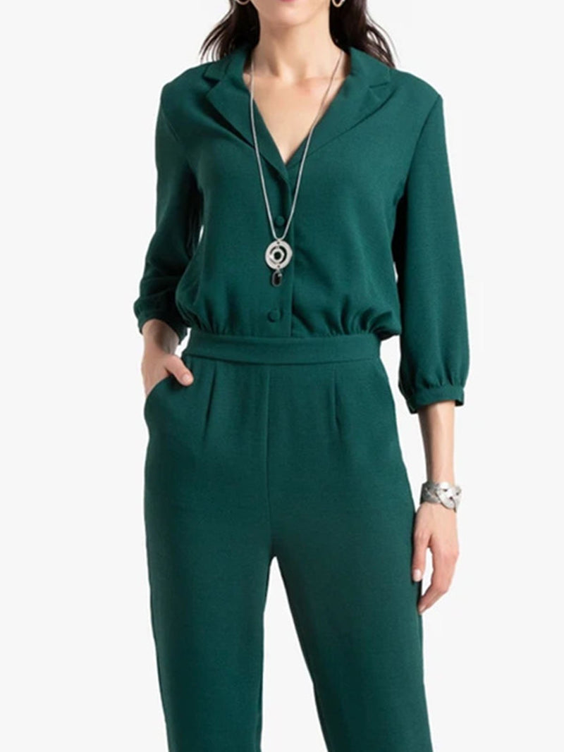 Green Pockets 3/4 Sleeve One-Pieces