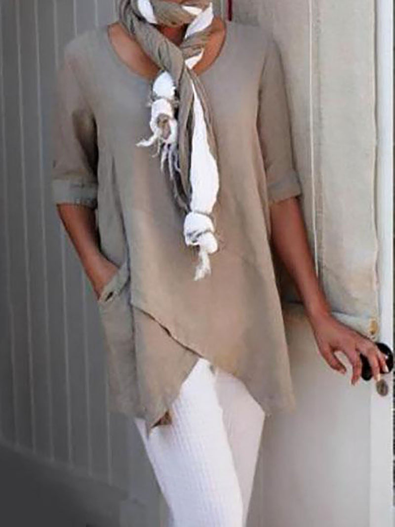 Women Plus Size Half Sleeve Asymmetrical  Vintage Blouse