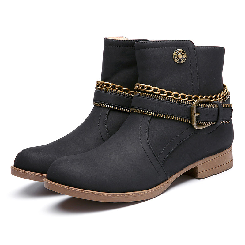 Women's Shoes Adjustable Buckle Low Heel Casual Boots
