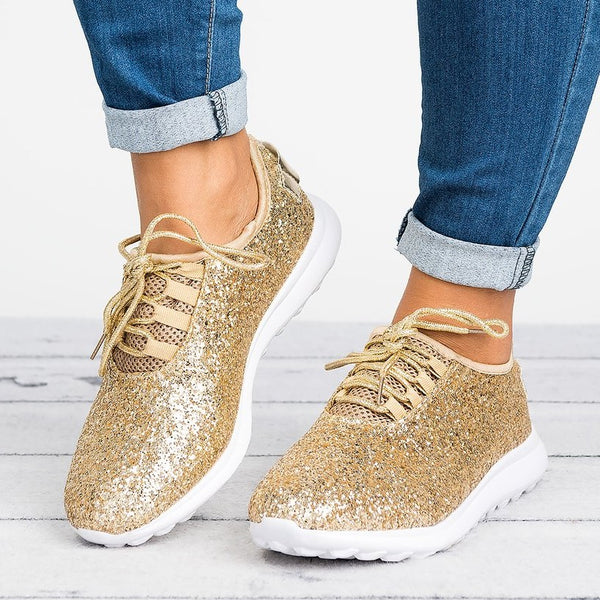 Women Sneakers Plus Size Sparkling Glitter Slip On Sneakers