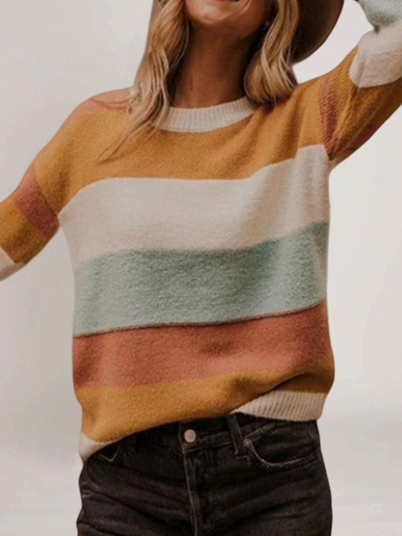 Multicolor Crew Neck Long Sleeve Cotton-Blend Sweater