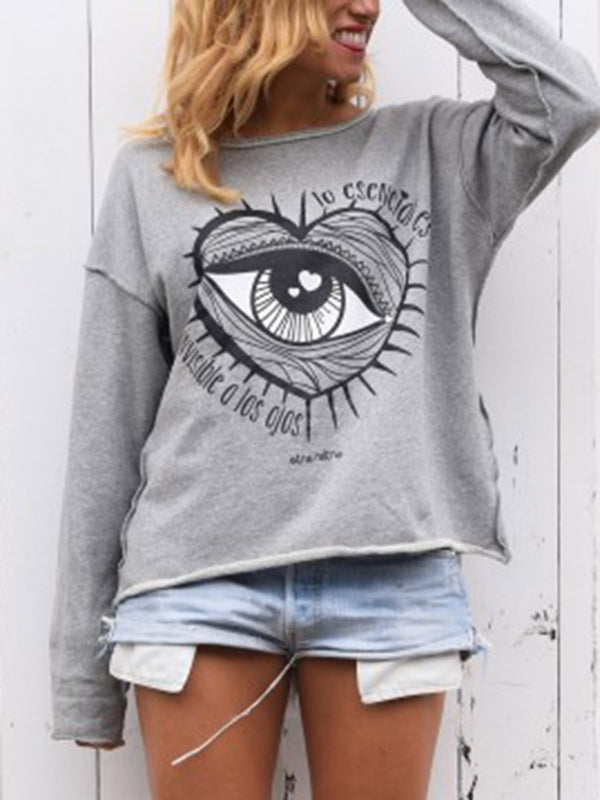 Abstract Long Sleeve Printed Sweatshirt