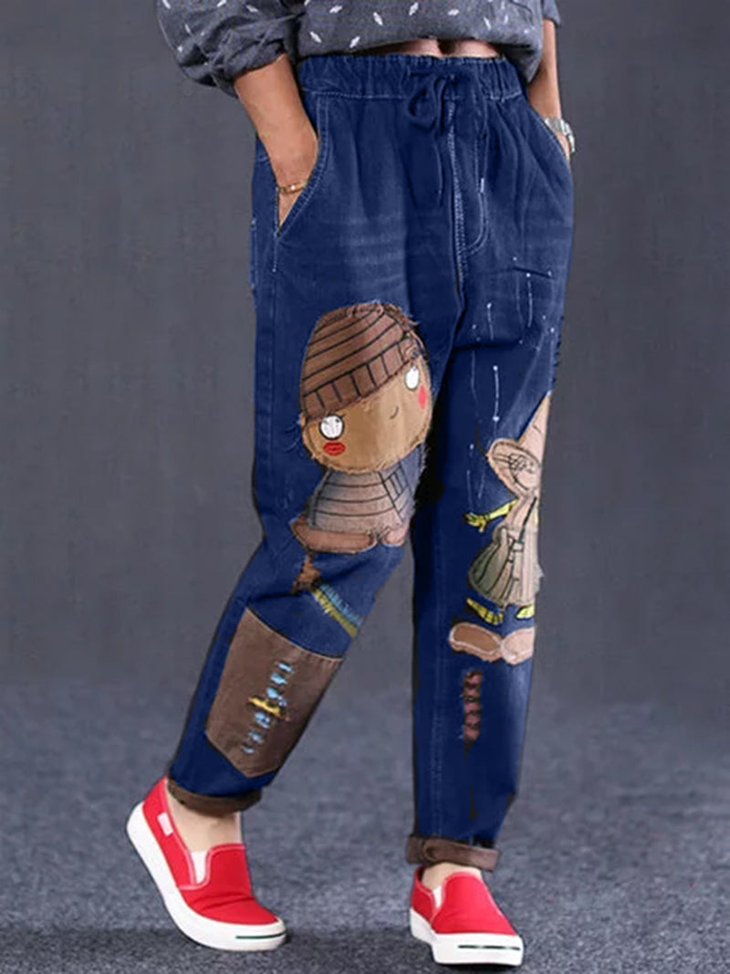 Plus Size Denim Printed Vintage Pants