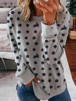 Gray Long Sleeve Printed Cotton-Blend Shirts & Tops
