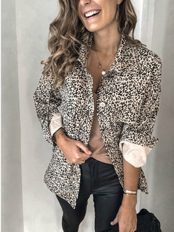 Leopard Shirt Collar Long Sleeve Leopard Print Outerwear