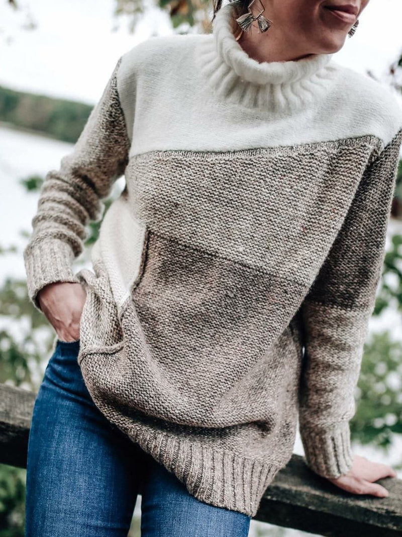 Gray Casual Knitted Sweater