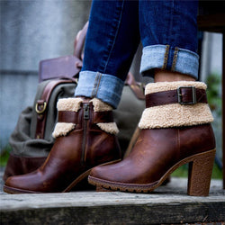 Women Casual Chunky Heel Faux Leather Ankle Boots