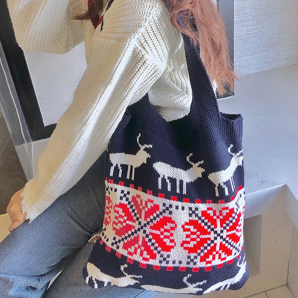 Christmas Knit Bag Jacquard Shoulder Bag