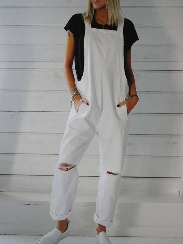 White Casual Cotton-Blend Jeans One-Pieces Overalls