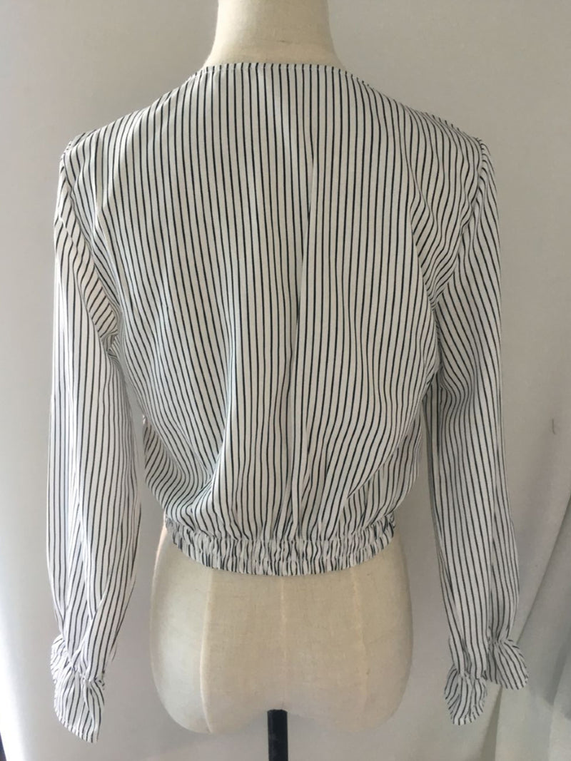 Stripe Long Sleeve Cotton V Neck Shirts & Tops