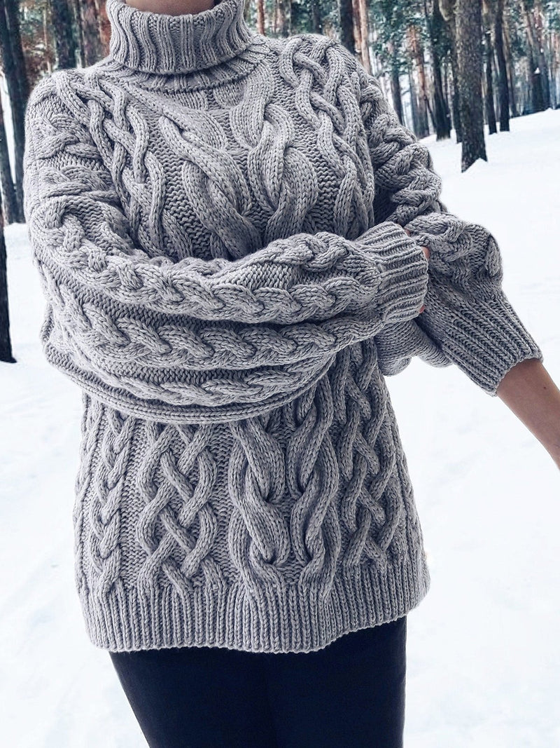 Gray Knitted Long Sleeve Solid Acrylic Sweater