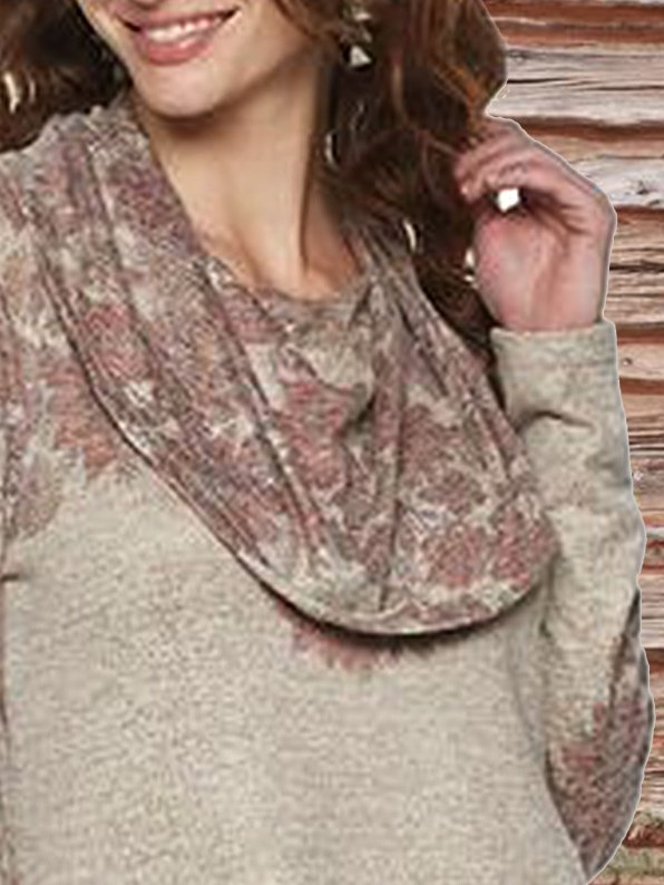 Floral Cowl Neck Printed Tops