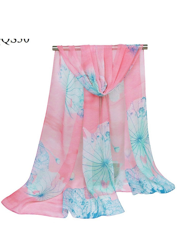 160CM Women Lotus Printing Scarves Casual Oversize Warm Soft Shawls