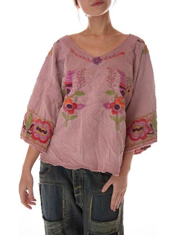 Pink Floral 3/4 Sleeve Shirts & Tops