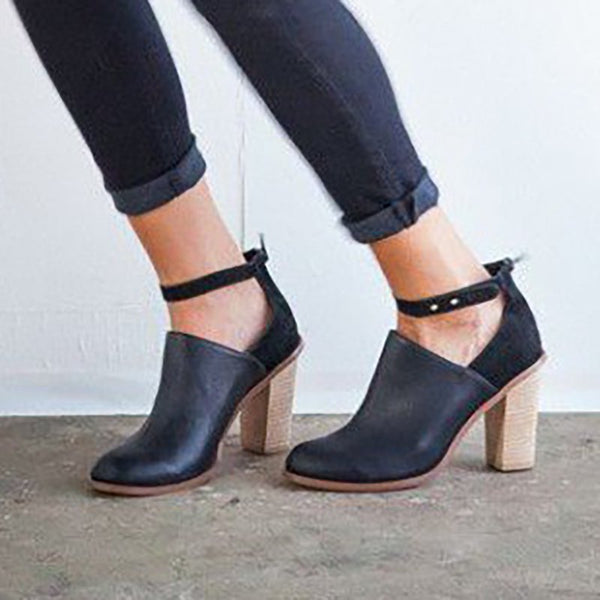 Womens Vintage Ankle Heeled Casual Boots