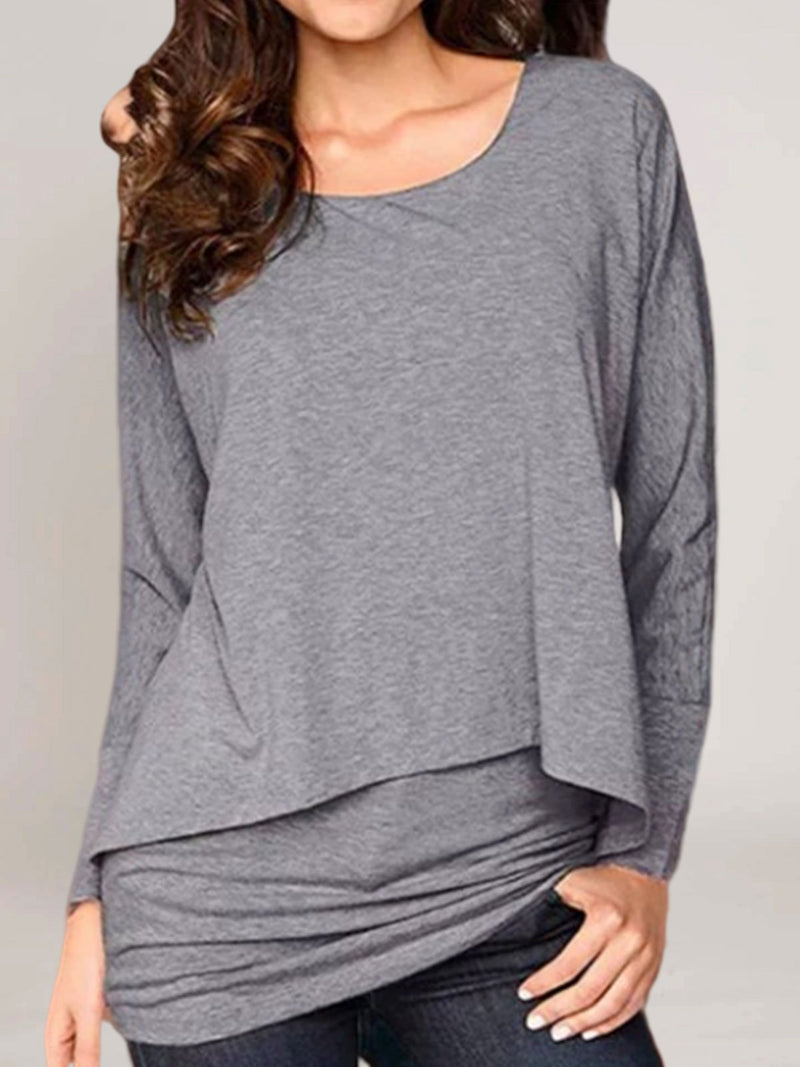 Long Sleeve Crew Neck Cotton-Blend Casual Shirts & Tops