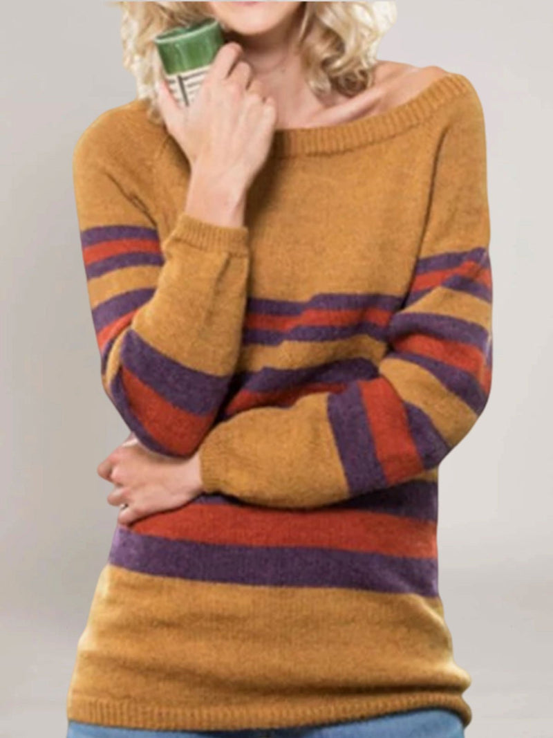 Yellow Cotton-Blend Long Sleeve Sweater