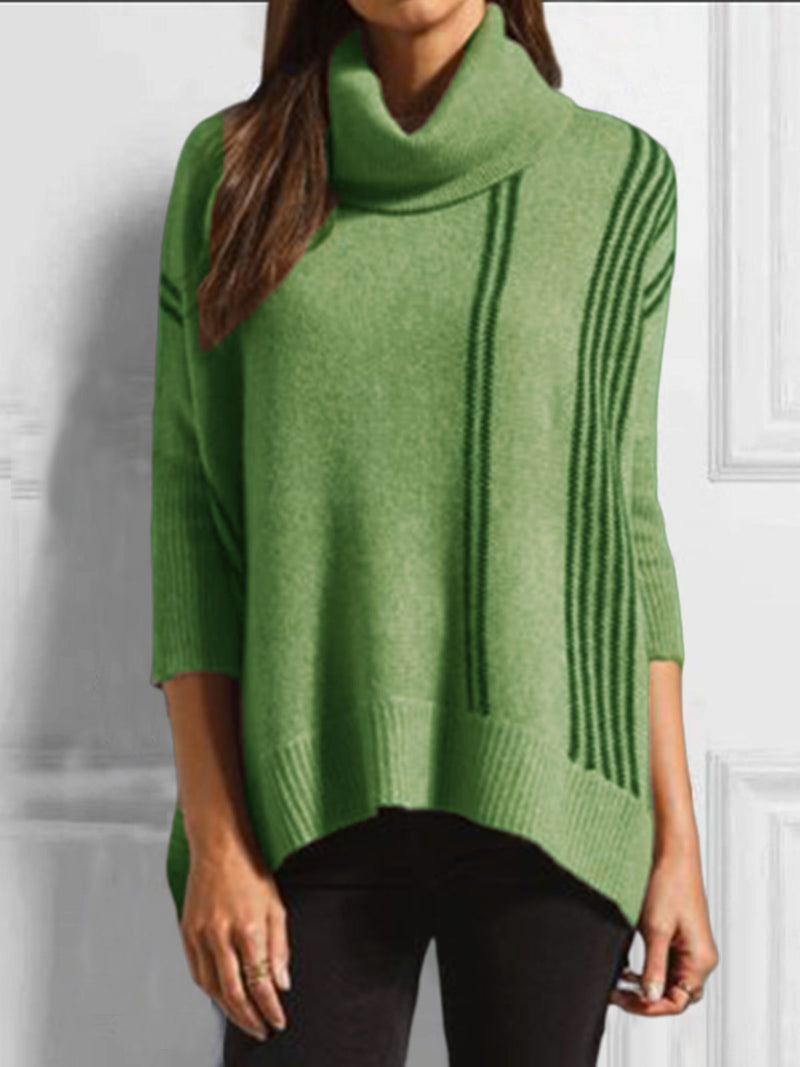 Cowl Neck Cotton-Blend Long Sleeve Sweater