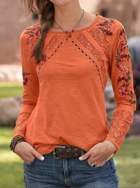 Ethnic Hollow-Out Long Sleeve Round Neck Women Tops