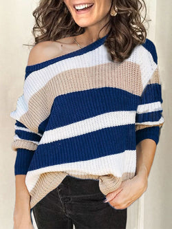 Blue Round Neck Knitted Long Sleeve Striped Sweater