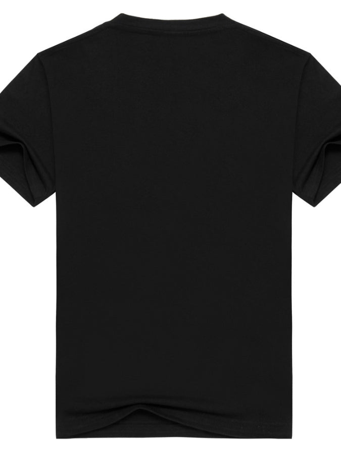 Black Crew Neck Cotton Short Sleeve Shirts & Tops