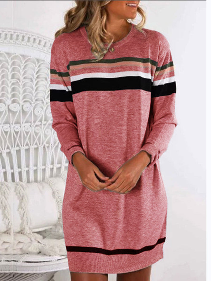 Women Stripe  Crew Neck Pullover Casual Shirts & Tops
