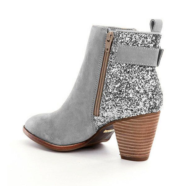 Women Flocking Booties Casual Sequin Plus Size Shoes
