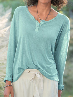 Lake Blue Buttoned Resort Cotton-Blend Shirts & Tops