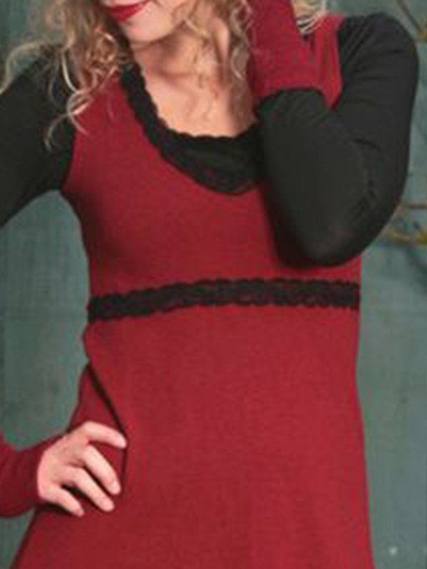 Paneled Crew Neck Long Sleeve Dresses