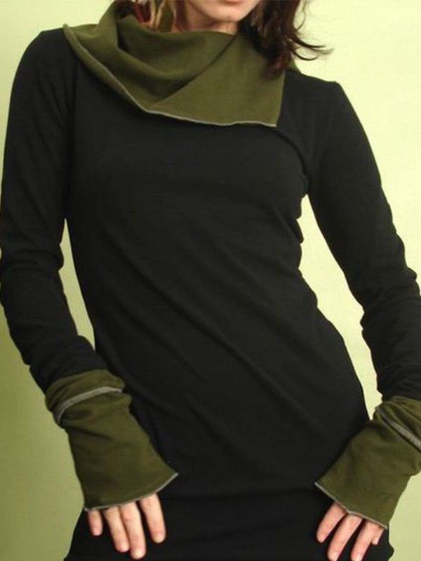 Black Color-Block Long Sleeve Cotton-Blend Sweatshirt