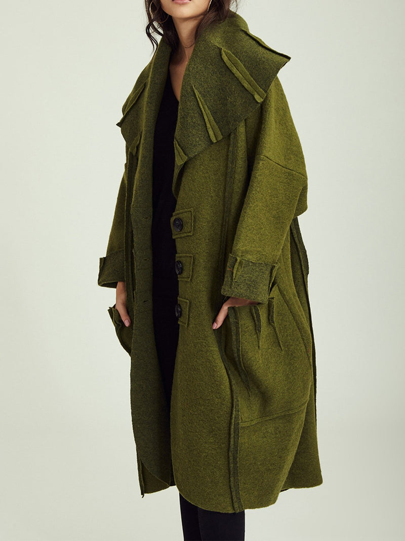 Green Casual Cotton-Blend Outerwear