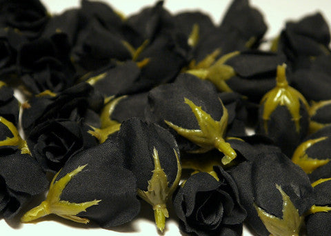 Black Poly Silk Rose Bud Heads 120pcs