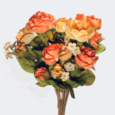 Bouquet Silk Flowers Peach 1pc