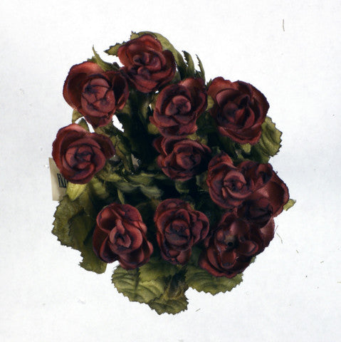 Brown Mini Rose Silk Flowers 0.5''
