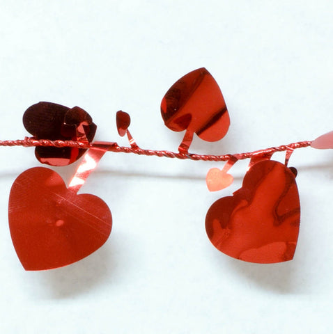 Metallic Red Heart Garland 9' 1pcs
