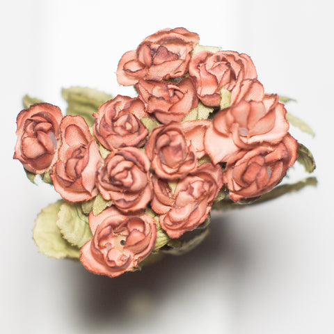 Dusty Rose Mini Rose Silk Flowers 0.5''
