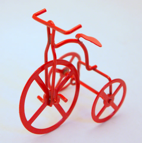Red Enamel Tricycle Ornaments 6pcs