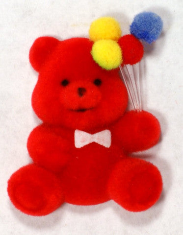 Flocked Miniature Party Teddy Bear Flat Red 1.25'' 12pcs