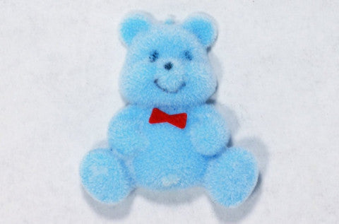 Flocked Miniature Teddy Bears Flat Light Blue 1.25'' 12pcs