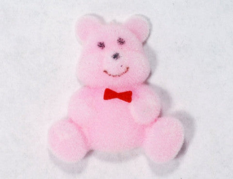 Flocked Miniature Teddy Bears Flat Pink 1.25'' 12pcs