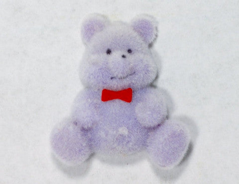 Flocked Miniature Teddy Bears Flat Purple 1.25'' 12pcs