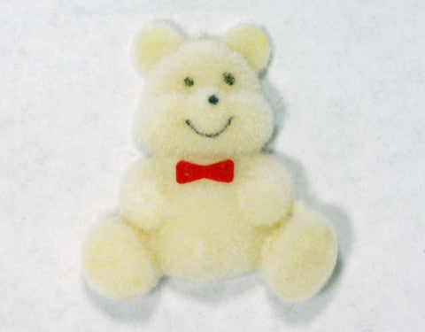 Flocked Miniature Teddy Bears Flat Yellow 1.25'' 12pcs