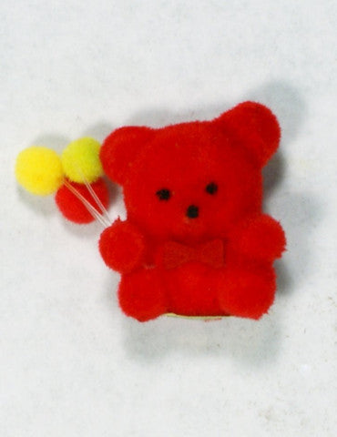 Flocked Miniature Party Teddy Bear Rounded Red 1'' 12pcs