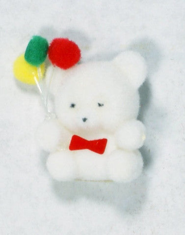 Flocked Miniature Party Teddy Bear Rounded White 1'' 12pcs